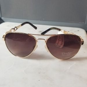 Jessica Simpson Metal Chain Temple Aviator Sunglas